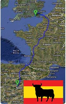 Removals Map from Brighton to Spain